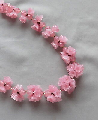 Vintage 30's CZECH Molded Pink Glass Flower Bead Necklace
