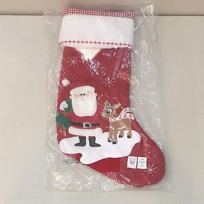 NWT Pottery Barn Kids Santa with RUDOLPH QUILTED Holiday Christmas Stocking