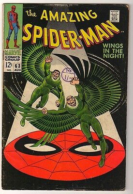 MARVEL Comics VG SPIDERMAN SILVER age #63 1968 VULTURE  APP STORY AMAZING