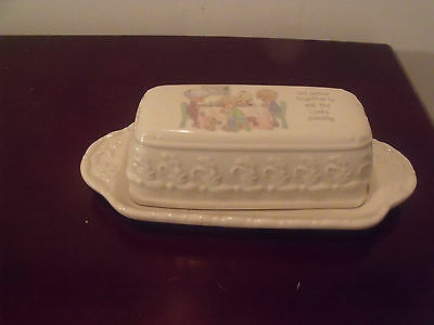 Beautiful Precious Moments Lord's Blessing Covered Butter Dish