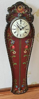 Rare German Saw Clock Hand Painted Folklore 1960s 24hrs Cow Tail Pendulum