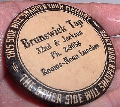 BRUNSWICK TAP ROOM Antique Pocket Hone ( Not Mirror ) Dubuque Iowa / Billiards