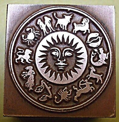 """""""signs Of The Zodiac"""" Printing Block."""