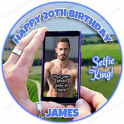 Personalised Selfie King Camera Phone + Own Photo Edible Icing Party Cake Topper