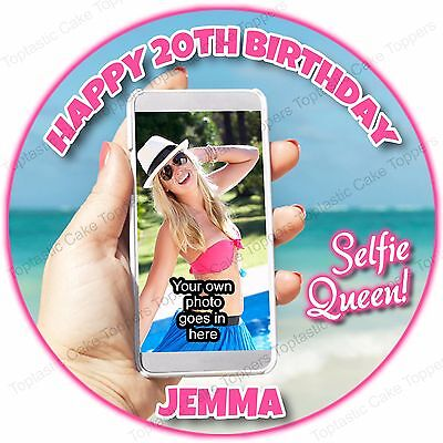 Personalised Selfie Queen Camera Phone + Own Photo Edible Icing Cake Topper