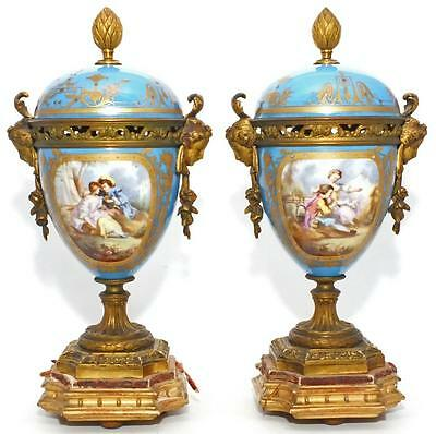 SUPERB GILDED LARGE 19th C SEVRES STYLE PORCELAIN ORMOLU VASES URNS GESSO STANDS
