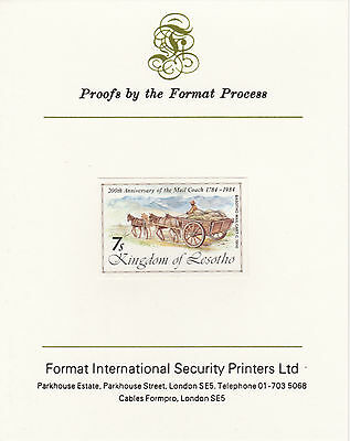 Lesotho 4224 - 1983 MAIL CART imperf  on Format International PROOF  CARD