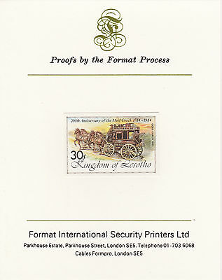 Lesotho 4226 - 1983 COBB MAIL COACH imperf  on Format International PROOF  CARD