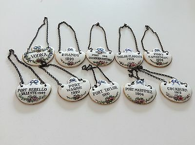 Vintage Royal Bone China Crown Staffordshire Decanter Liquor Bottle Tags SET/ 10