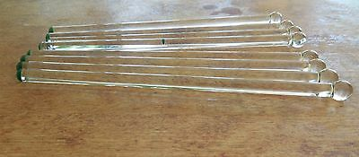 8 Vintage Glass Swizzle Sticks / Cocktail Stirrers - Clear with Green Enamel End