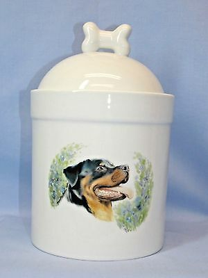 Rottweiler Dog Porcelain Treat Jar Fired Head Decal on Front 8 In Tall