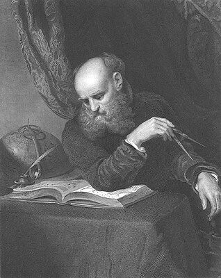 Old World Middle Ages ASTRONOMER Scientist GALILEO ~ 1851 Art Print Engraving