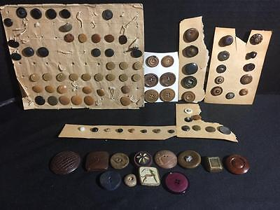 Lot Of 92 Unique Vintage Vegetable Ivory & Composition Wood Buttons Mixed Lot