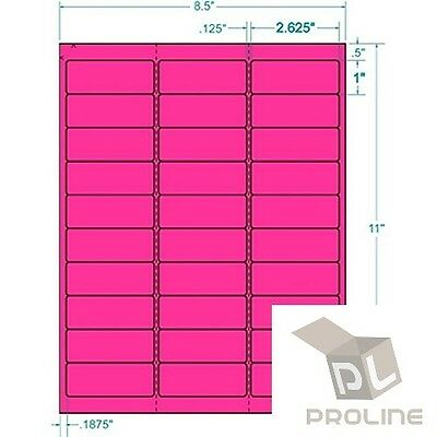 3000 Address Labels Amazon FBA 30 Per Sheet 30UP 2.625''x1'' Fluorescent Pink