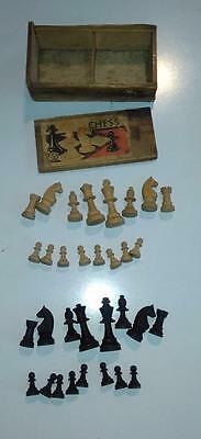 Wooden Chess Pieces in Wooded box