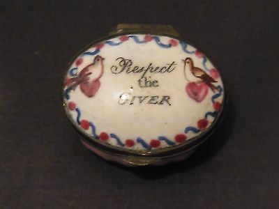 Antique Georgian Enamel Motto Bilston Pot 'Respect The Giver' - 1700s