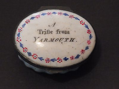 Antique Georgian Enamel Motto Bilston Pot 'A TRIFLE FROM YARMOUTH'