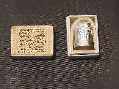 STUNNING Antique silver thimble Birmingham 1916 Original Presentation  Box