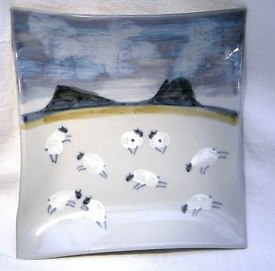 "Highland Stoneware 6.1/2"" Square Plaque Sheep"