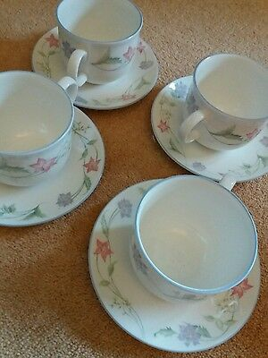 Royal Doulton expressions summer Carnival teacups and saucers x 4 (2 sets of 4)