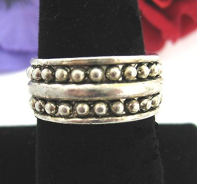 "Simple BAND RING Vintage Silvertone 7/16"" Width With Rounded Bumps Size 9"