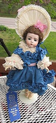 """16"""" French  Reproduction DOLL 1983 A. Marque IN BLUE SILK-FIRST PLACE WINNER"""