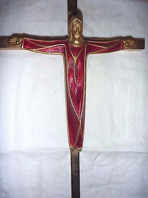 "Vtg Solid Brass Crucifix 10"" Tall/1+ Lb -- Red & Gold Enamel Robe on Christ"