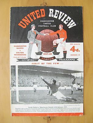MANCHESTER UNITED v BOLTON WANDERERS 1957/1958 Good Condition Programme - Munich
