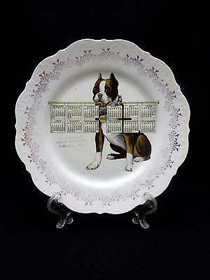 Antique 1910 Calendar Plate French Bulldog FRENCHIE W J Sherrick NORTH BERNE, OH