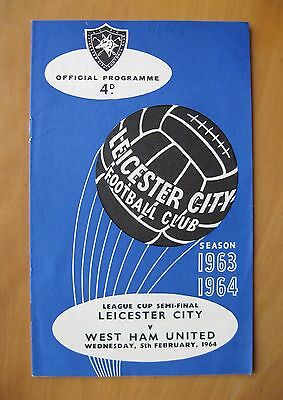 LEICESTER CITY v WEST HAM UNITED League Cup Semi-Final 1963/1964 *Exc Condition*