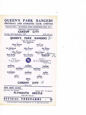 Queens Park Rangers Reserves v Cardiff City Reserves 57/8 s/s