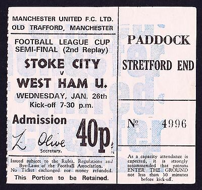 1971/1972 League Cup Semi-Final 2nd Replay STOKE CITY v WEST HAM UNITED Ticket