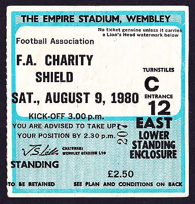 1980 Charity Shield LIVERPOOL v WEST HAM UNITED *Good Condition Ticket*
