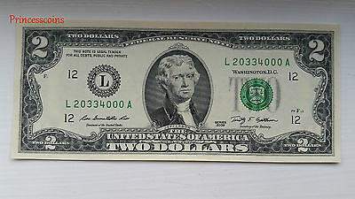 Unique Solid Serial Number 4000 Uncirculated Us Dollar $2 One Dollar Bill Unc-