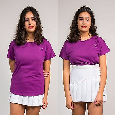 Puma Womens Sports T-Shirt Top Exercise Active Fit Running Purple Crew Neck 12