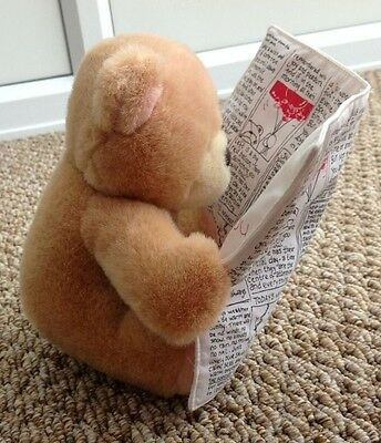 """Forever Friends Bear Reading Newspaper News Paper 'Its Your Big Day Today'' 7"""""""