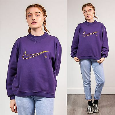 Womens Vintage 90's Nike Sports Sweatshirt Sweater Purple Gold Crew Neck 12
