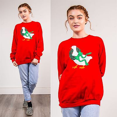 90'S Vintage Christmas Xmas Sweatshirt Sweater Duck Wreath Festive Red Crew 14