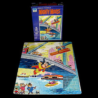 Mighty Mouse Jigsaw Puzzle Saves The Bridge Complete VTG 100 Pc Whitman 1967