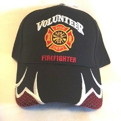 New Black Cap with Embroidered Maltese Cross Volunteer Firefighter Design