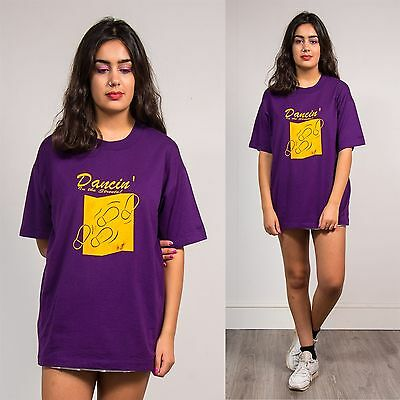 "Vintage 90's Purple Yellow T-Shirt Top ""dancin In The Streets"" Crew Neck 16"