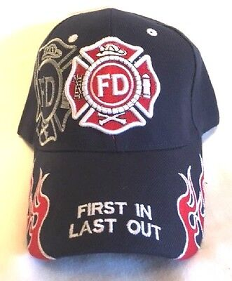 New Dark Blue Cap with Embroidered Shadowed Maltese Cross Firefighter Design
