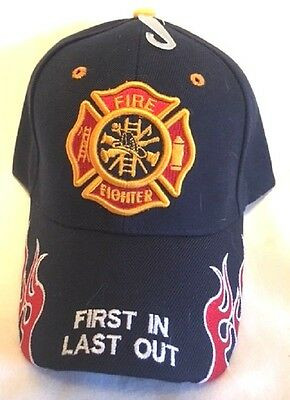 New Dark Blue Cap with Embroidered Maltese Cross Firefighter Design