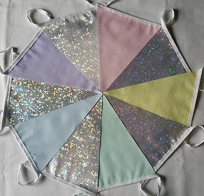 Pastel & Silver Holo Fabric Bunting Pink Yellow Green Blue Lilac 10 ft / 3m