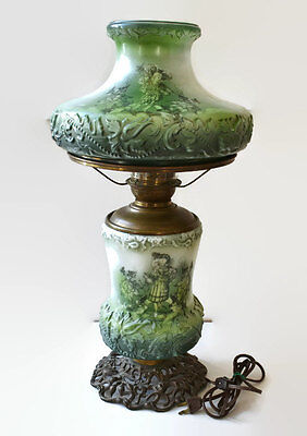 Antique Victorian Gone With The Wind Green Milk Glass Parlor Lamp Electrified