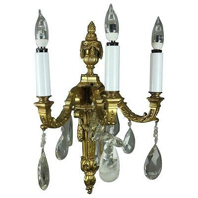 Antique French Torchiere Gilt Bonze & Crystal Three-Light Wall Sconce, c1900