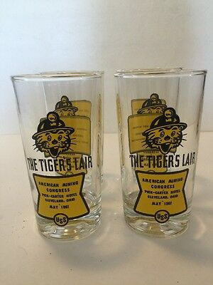 Vintage 1961 USS Steel The Tiger's Lair American Mining Congress Glass