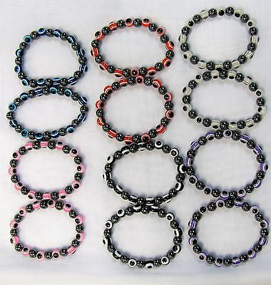 Wholesale 12 Stretch Evil Eye Beaded Bracelets Assorted #456 Eye Of Protection