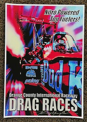 New Kenny Youngblood Signed Bud King Top Fuel Nitro Orange County Drags Poster