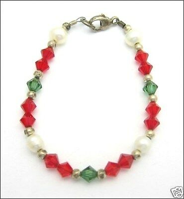 CHILD Bead Bracelet RED GREEN Glass Vintage Faux Pearl CHILD'S Christmas Silver